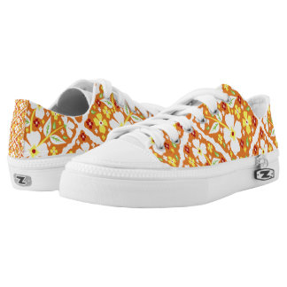 Flowers on Orange Printed Shoes