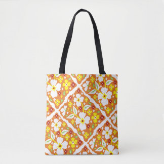 Flowers on Orange Tote Bag