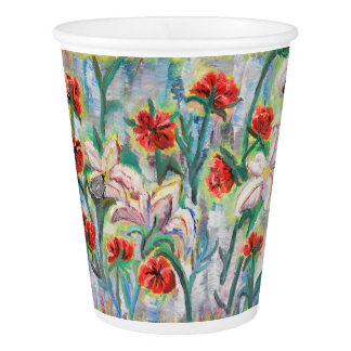 Flowers on papercup paper cup