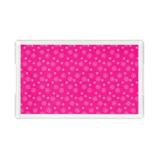 Flowers on Pink Background Acrylic Tray