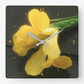 Flowers on Slate Square Wall Clock