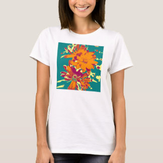 Flowers on the blue background T-Shirt