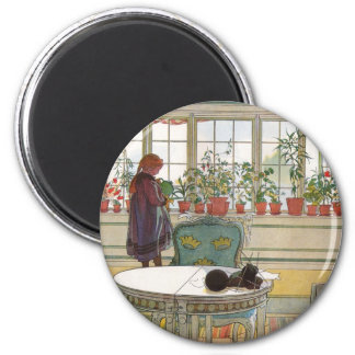 Flowers on the Windowsill by Carl Larsson 6 Cm Round Magnet