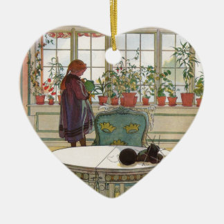 Flowers on the Windowsill by Carl Larsson Double-Sided Heart Ceramic Christmas Ornament