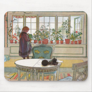Flowers on the Windowsill by Carl Larsson Mouse Pad
