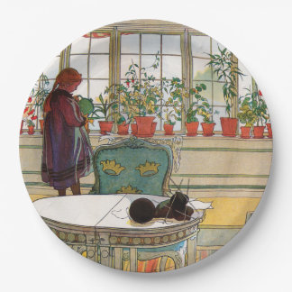Flowers on the Windowsill by Carl Larsson Paper Plate