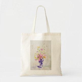 Flowers on vase budget tote bag