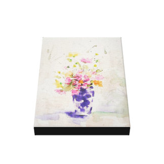 Flowers on vase stretched canvas print