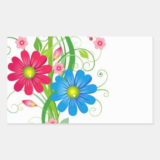 Flowers on Vine Rectangular Sticker