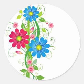 Flowers on Vine Round Sticker