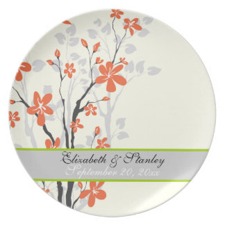 Flowers orange lime green wedding keepsake plate