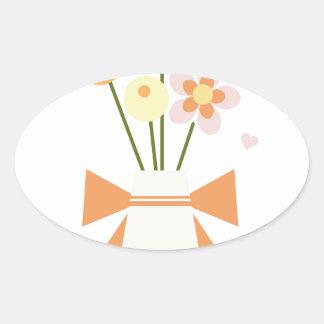 flowers oval sticker