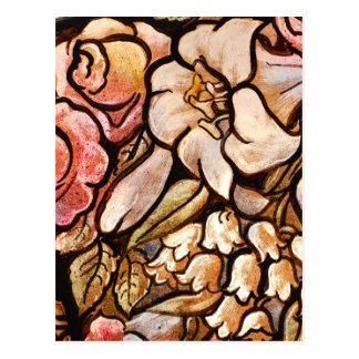 Flowers Painted on Glass Postcard
