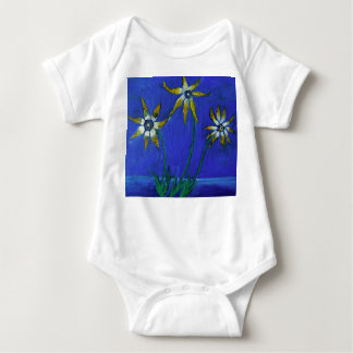 Flowers Painting Baby Jersey Bodysuit, White Baby Bodysuit