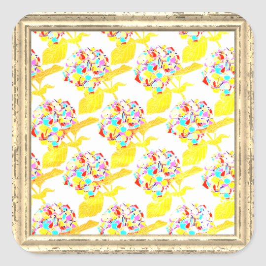 Flowers Pattern In Yellows Square Sticker