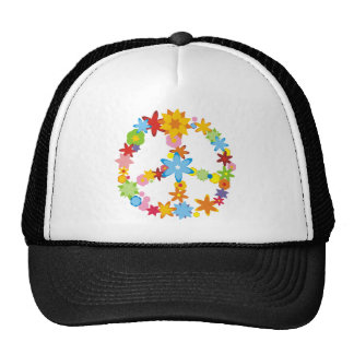 Flowers Peace Sign Mesh Hats