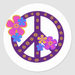 Flowers Peace Symbol Round Sticker