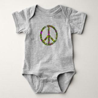 Flowers Peace Symbol Sign Infant Baby Bodysuit
