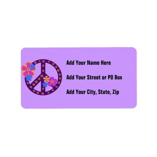 Flowers Peace Symbol T-shirts and Gifts Address Label