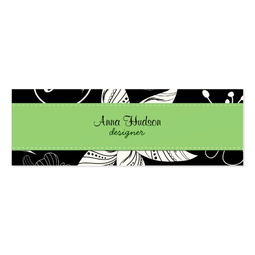 Flowers, Petals, Leaves - Black White Green Business Card Templates