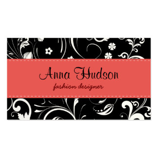 Flowers, Petals, Leaves - Black White Red Pack Of Standard Business Cards