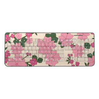 Flowers, Petals, Leaves, Blossoms - Pink Green Wireless Keyboard