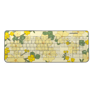 Flowers, Petals, Leaves, Blossoms - Yellow Green Wireless Keyboard