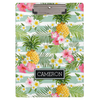 Flowers & Pineapple Teal Stripes | Add Your Name Clipboard