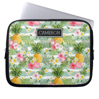 Flowers & Pineapple Teal Stripes | Add Your Name Laptop Sleeve