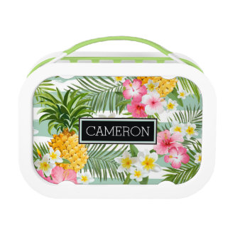 Flowers & Pineapple Teal Stripes | Add Your Name Lunchbox