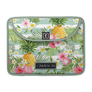 Flowers & Pineapple Teal Stripes | Add Your Name MacBook Pro Sleeves