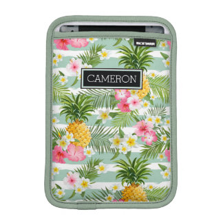 Flowers & Pineapple Teal Stripes | Add Your Name Sleeve For iPad Mini