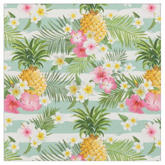 Flowers & Pineapple Teal Stripes Fabric