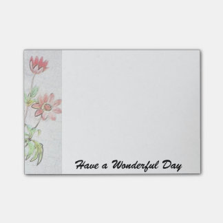 Flowers Post-it® Notes 4 x Have a wonderful day