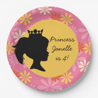 Flowers Princess Custom Birthday Paper Plates 9 Inch Paper Plate