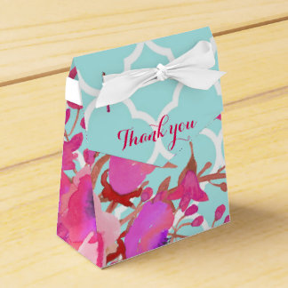 Flowers quatrefoil modern elegant chic favor box