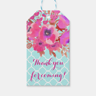 Flowers quatrefoil modern elegant fashion gift tags