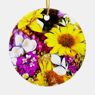 FLOWERS ROUND CERAMIC DECORATION