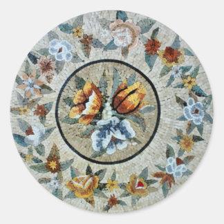 Flowers Round Medallion Decor Marble Mosaic Round Sticker