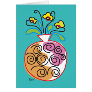 Flowers & Round Vase Blank Card