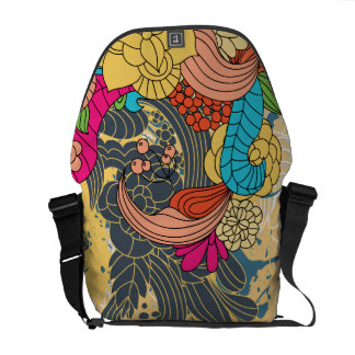 Flowers Scrolls Vector Graphic Abstract Art Commuter Bag