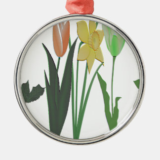 Flowers Silver-Colored Round Decoration