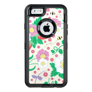 Flowers, Strawberries, and Bees OtterBox Defender iPhone Case