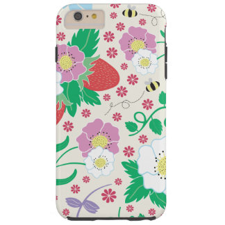 Flowers, Strawberries, and Bees Tough iPhone 6 Plus Case
