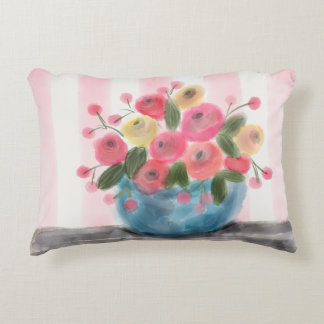 "FLOWERS & STRIPES Accent Pillow 16"" x 12"""