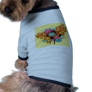 Flowers swirls graphic design doggie tee shirt