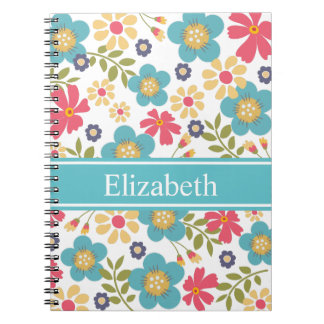 Flowers Teal and Yellow Note Book Personalized
