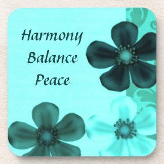 Flowers Teal Harmony Balance Peace Cork Coasters