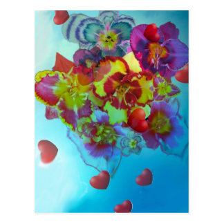 Flowers that let their hearts out postcard