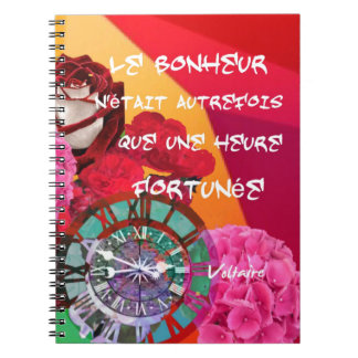Flowers , time and happiness message notebooks